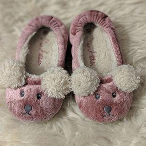 Mini Boden pink velvet bear pom slippers